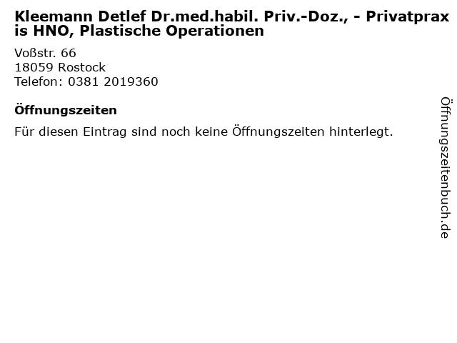 Kleemann Detlef Dr.med.habil. Priv.-Doz., - Privatpraxis HNO, Plastische Operationen in Rostock: Adresse und Öffnungszeiten