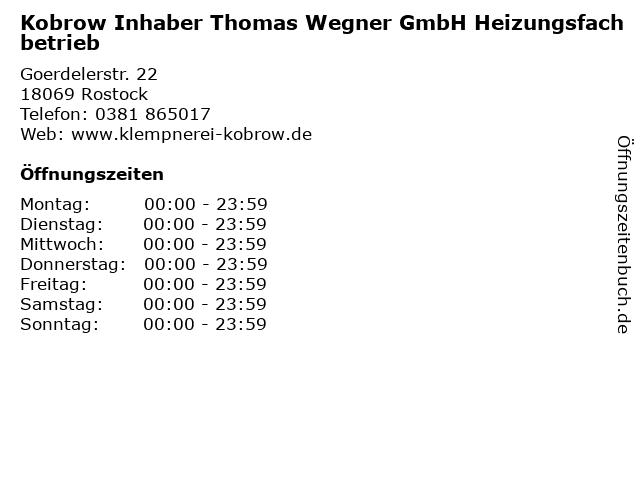 Kobrow Inhaber Thomas Wegner GmbH Heizungsfachbetrieb in Rostock: Adresse und Öffnungszeiten