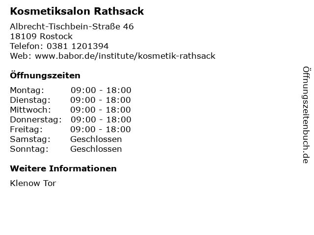 Kosmetiksalon Rathsack in Rostock: Adresse und Öffnungszeiten