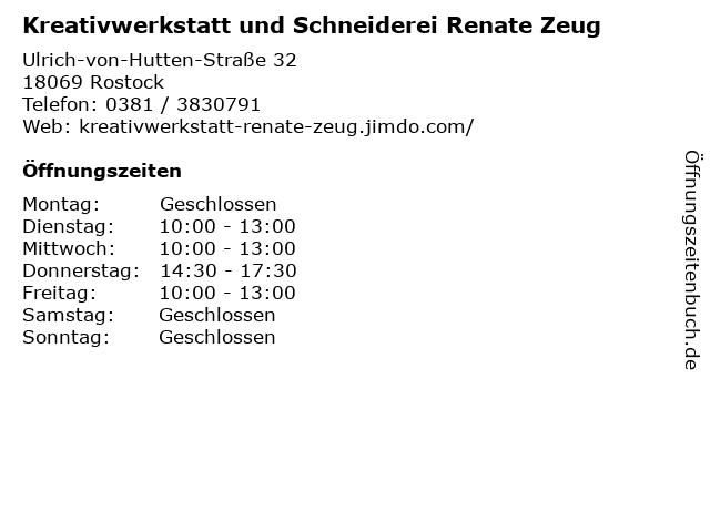 Kreativwerkstatt und Schneiderei Renate Zeug in Rostock: Adresse und Öffnungszeiten
