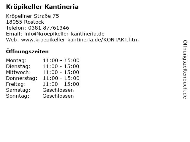 Kröpikeller Kantineria in Rostock: Adresse und Öffnungszeiten