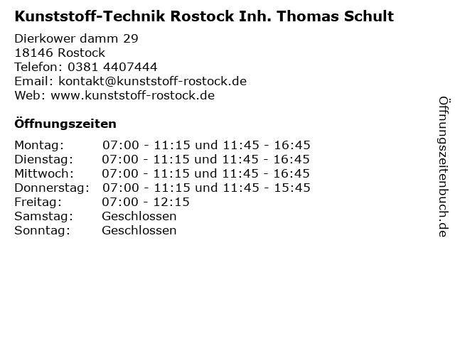 Kunststoff-Technik Rostock Inh. Thomas Schult in Rostock: Adresse und Öffnungszeiten