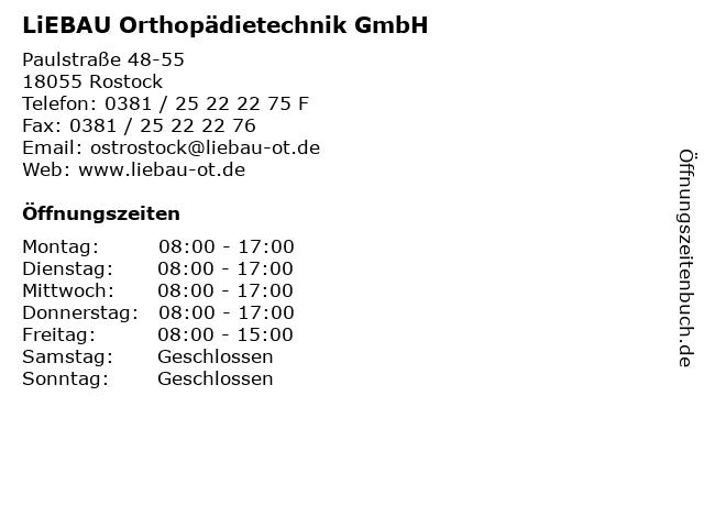 LiEBAU Orthopädietechnik GmbH in Rostock: Adresse und Öffnungszeiten