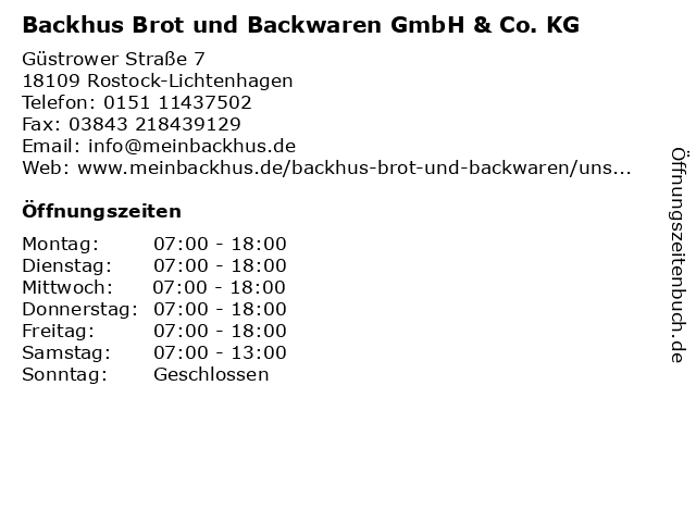 Backhus Brot und Backwaren GmbH & Co. KG in Rostock-Lichtenhagen: Adresse und Öffnungszeiten