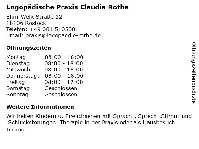 Claudia Rothe - Logopädische Praxis in Rostock: Adresse und Öffnungszeiten