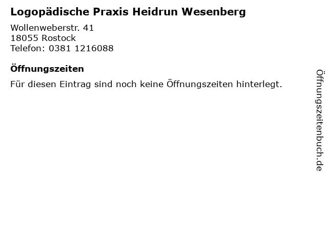 Logopädische Praxis Heidrun Wesenberg in Rostock: Adresse und Öffnungszeiten