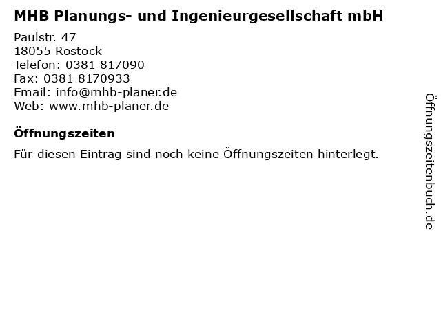 MHB Planungs- und Ingenieurgesellschaft mbH in Rostock: Adresse und Öffnungszeiten
