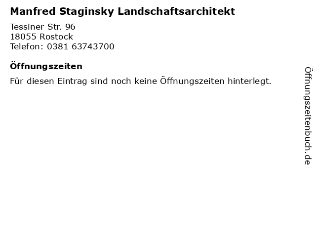 Manfred Staginsky Landschaftsarchitekt in Rostock: Adresse und Öffnungszeiten