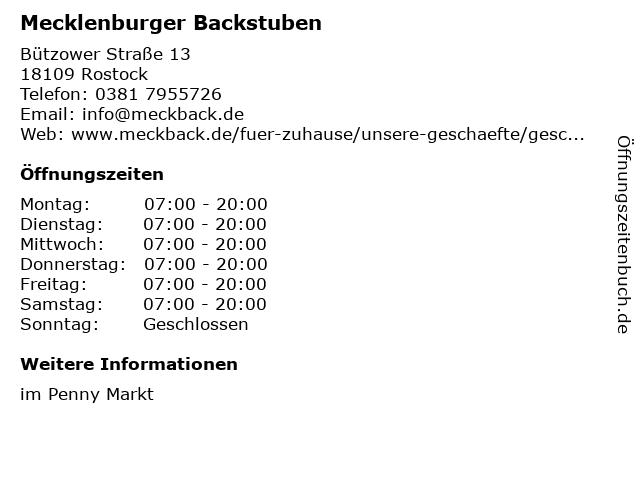 Mecklenburger Backstuben GmbH in Rostock: Adresse und Öffnungszeiten