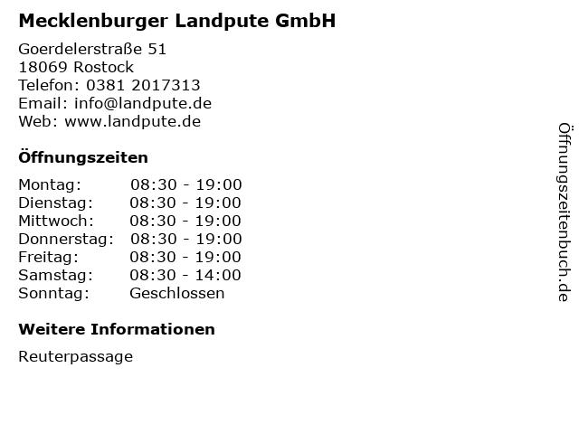 Mecklenburger Landpute GmbH in Rostock: Adresse und Öffnungszeiten
