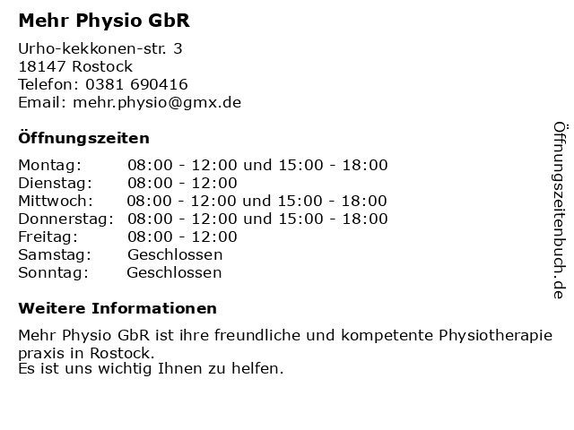 Mehr Physio GbR in Rostock: Adresse und Öffnungszeiten