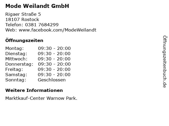 Mode Weilandt GmbH in Rostock: Adresse und Öffnungszeiten