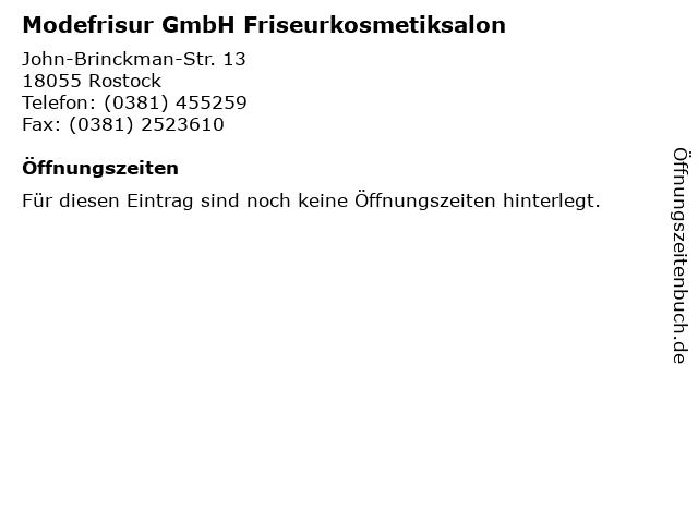 Modefrisur GmbH Friseurkosmetiksalon in Rostock: Adresse und Öffnungszeiten