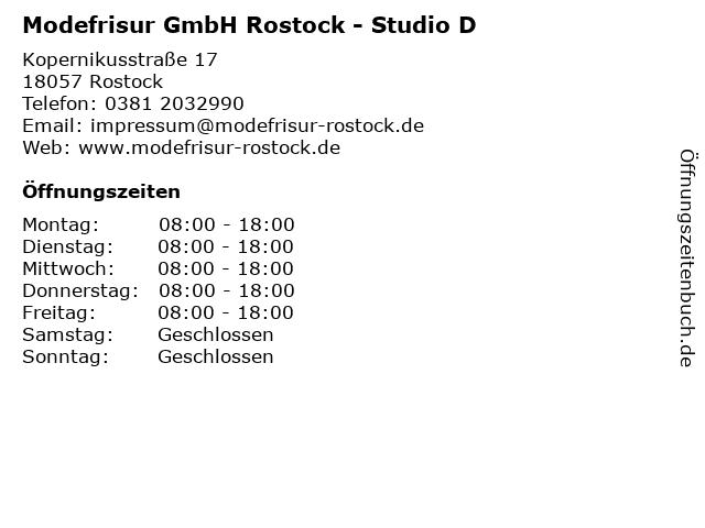 Modefrisur GmbH Rostock - Studio D (Kosmetik) in Rostock: Adresse und Öffnungszeiten