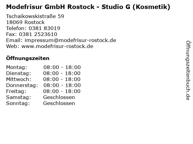 Modefrisur GmbH Rostock - Studio G (Kosmetik) in Rostock: Adresse und Öffnungszeiten