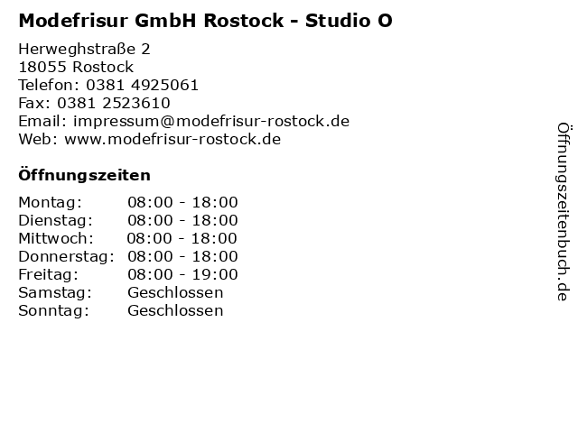 Modefrisur GmbH Rostock - Studio O in Rostock: Adresse und Öffnungszeiten