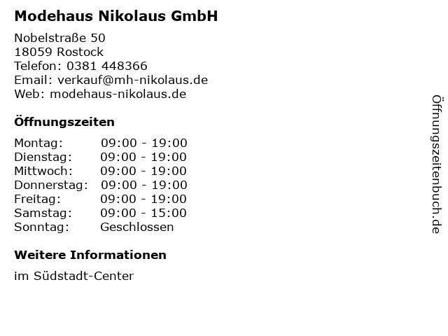 Modehaus Nikolaus GmbH in Rostock: Adresse und Öffnungszeiten