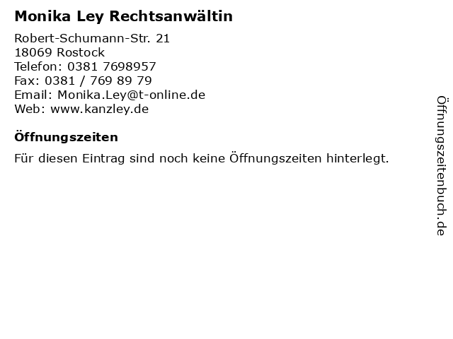 Monika Ley Rechtsanwältin in Rostock: Adresse und Öffnungszeiten