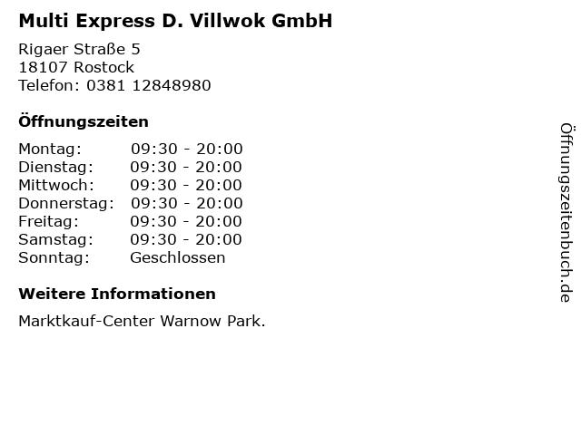 Multi Express D. Villwok GmbH in Rostock: Adresse und Öffnungszeiten