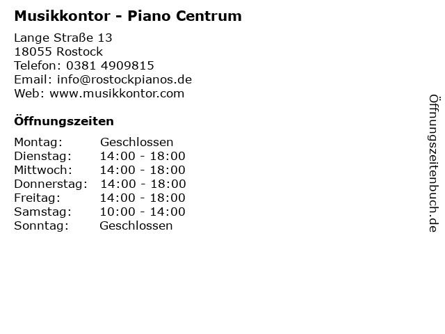 Musikkontor - Piano Centrum in Rostock: Adresse und Öffnungszeiten