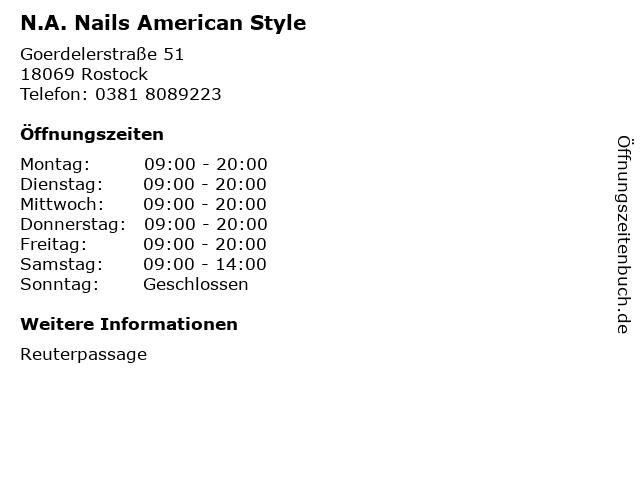 N.A. Nails American Style in Rostock: Adresse und Öffnungszeiten