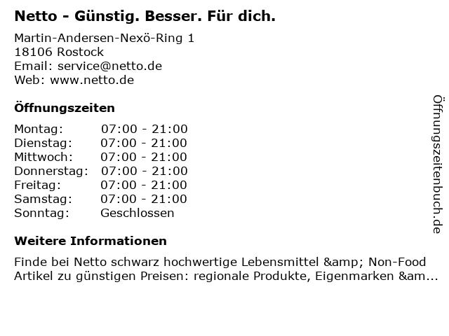 Netto - GÜNSTIG. BESSER. FÜR DICH. in Rostock: Adresse und Öffnungszeiten