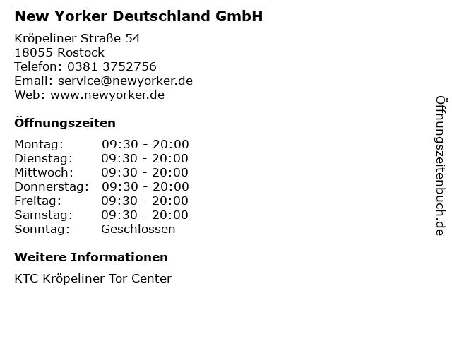 New Yorker Deutschland GmbH in Rostock: Adresse und Öffnungszeiten