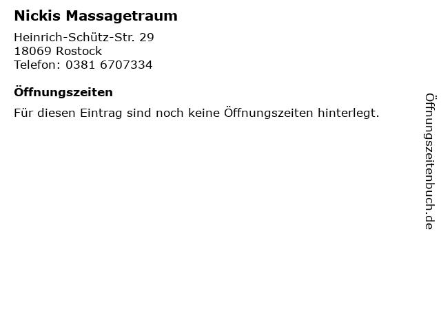Nickis Massagetraum in Rostock: Adresse und Öffnungszeiten
