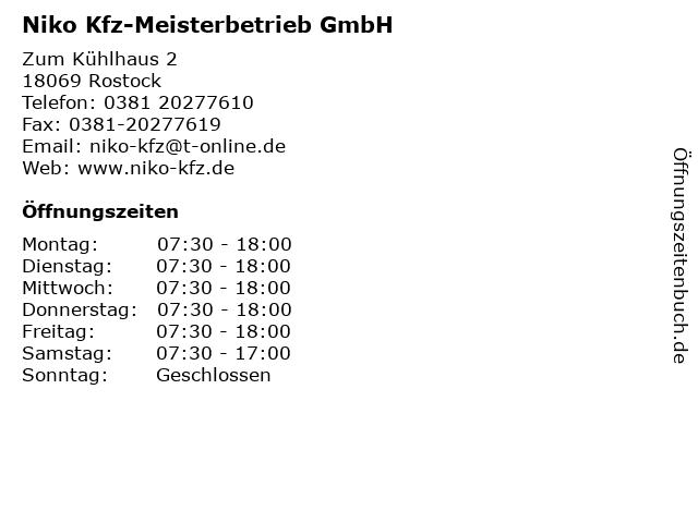Niko Kfz-Meisterbetrieb GmbH in Rostock: Adresse und Öffnungszeiten