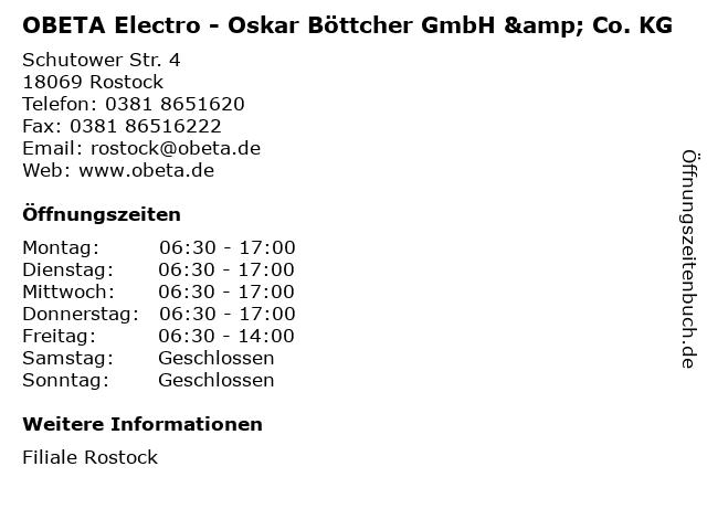OBETA Electro - Oskar Böttcher GmbH & Co. KG in Rostock: Adresse und Öffnungszeiten
