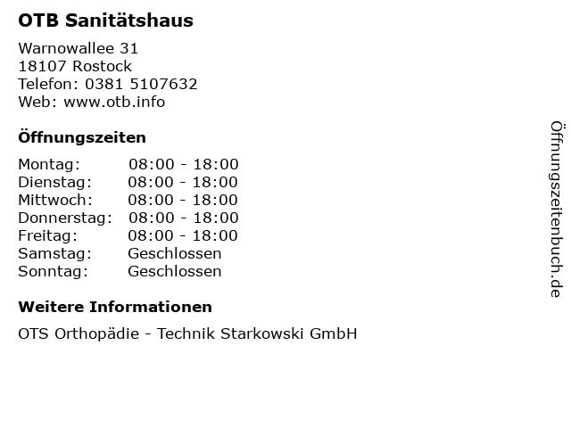 OTB Sanitätshaus in Rostock: Adresse und Öffnungszeiten