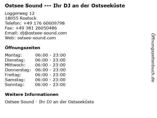 Ostsee Sound --- Ihr DJ an der Ostseeküste in Rostock: Adresse und Öffnungszeiten