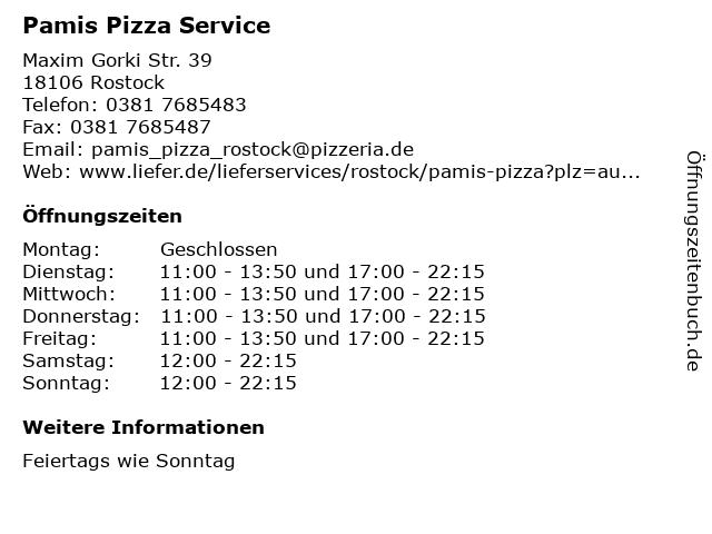 Pamis Pizza Service in Rostock: Adresse und Öffnungszeiten