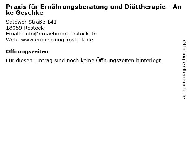 Praxis für Ernährungsberatung und Diättherapie - Anke Geschke in Rostock: Adresse und Öffnungszeiten