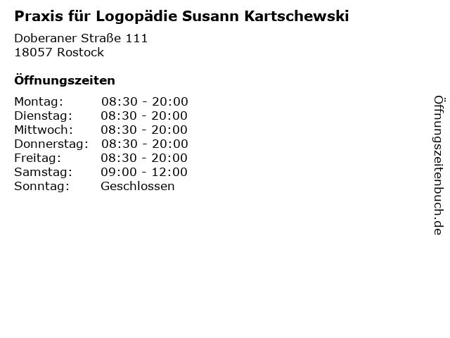 Praxis für Logopädie Susann Kartschewski in Rostock: Adresse und Öffnungszeiten