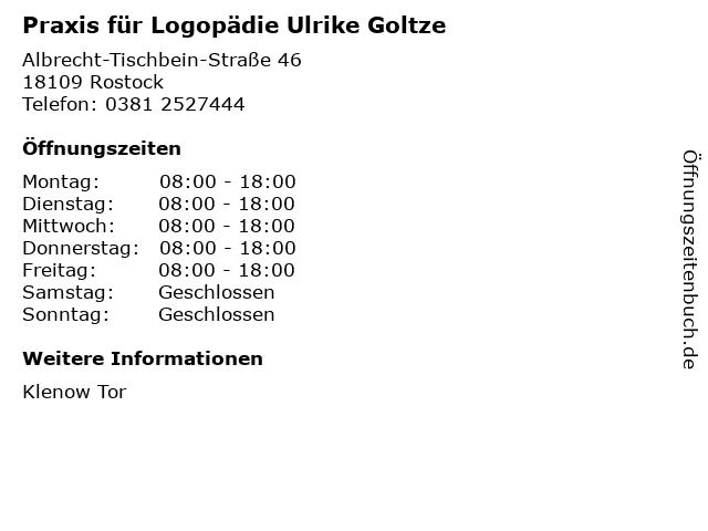 Praxis für Logopädie Ulrike Goltze in Rostock: Adresse und Öffnungszeiten
