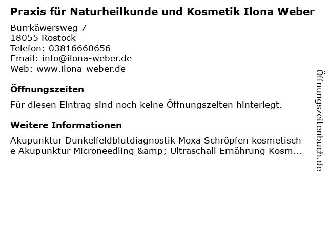Praxis für Naturheilkunde und Kosmetik Ilona Weber in Rostock: Adresse und Öffnungszeiten