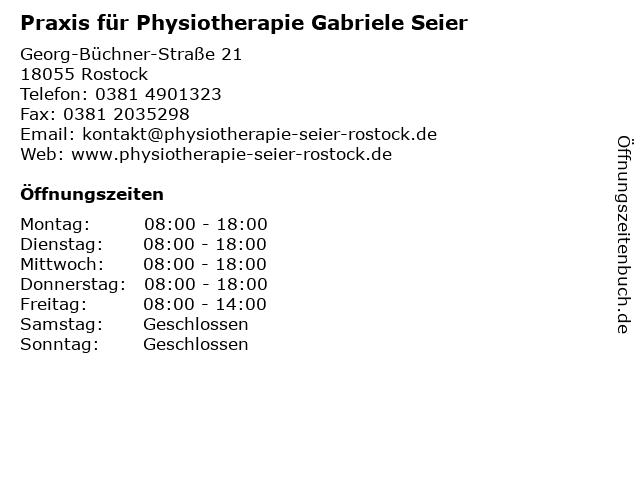 Praxis für Physiotherapie Gabriele Seier in Rostock: Adresse und Öffnungszeiten
