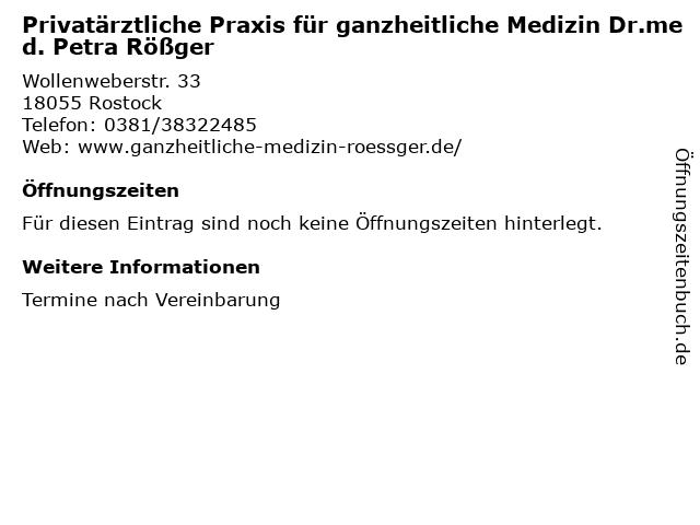 Privatärztliche Praxis für ganzheitliche Medizin Dr.med. Petra Rößger in Rostock: Adresse und Öffnungszeiten