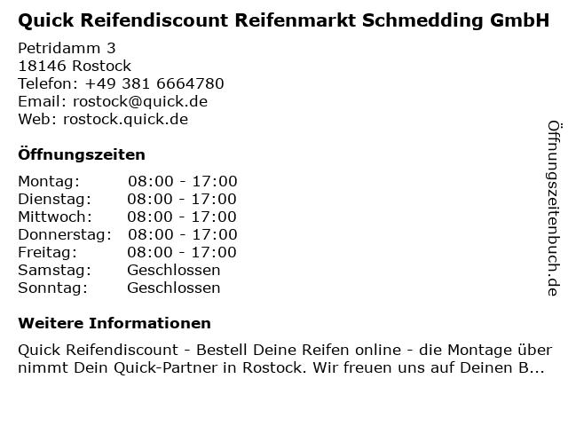 Quick Reifendiscount Reifenmarkt Schmedding GmbH in Rostock: Adresse und Öffnungszeiten