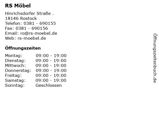 ᐅ öffnungszeiten Rs Möbel Hinrichsdorfer Straße In Rostock