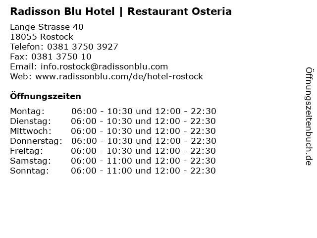 Radisson Blu Hotel | Restaurant Osteria in Rostock: Adresse und Öffnungszeiten