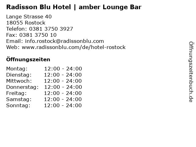 Radisson Blu Hotel | amber Lounge Bar in Rostock: Adresse und Öffnungszeiten