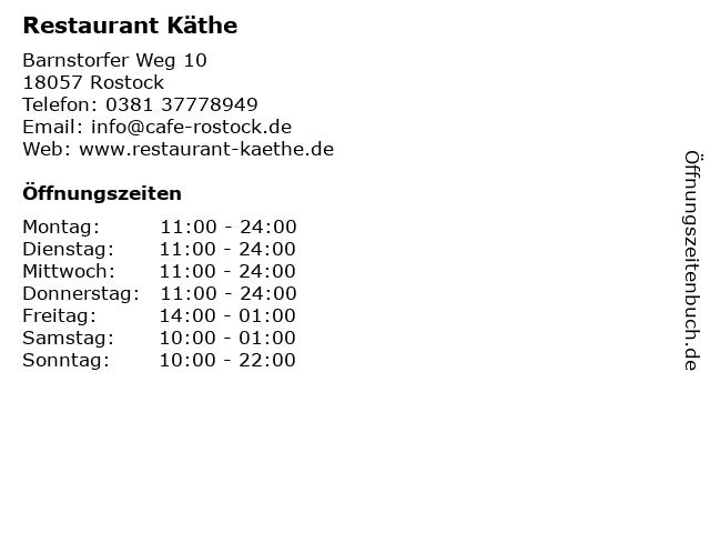 Restaurant Käthe in Rostock: Adresse und Öffnungszeiten