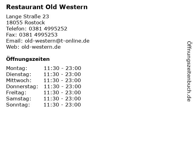 Restaurant Old Western in Rostock: Adresse und Öffnungszeiten