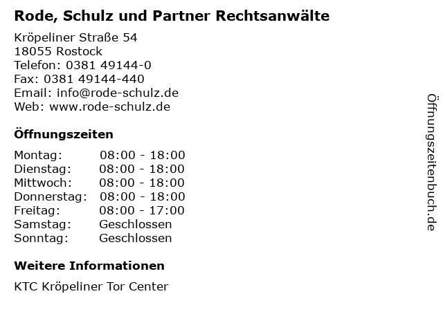 Rode, Schulz und Partner Rechtsanwälte in Rostock: Adresse und Öffnungszeiten
