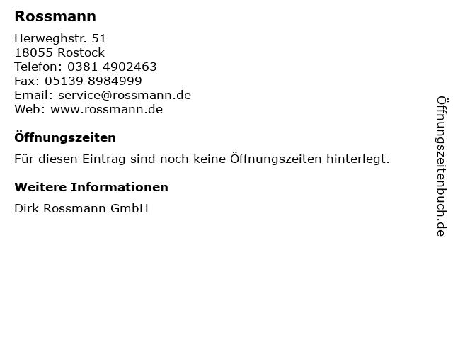 Rossmann in Rostock: Adresse und Öffnungszeiten