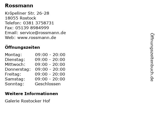 Dirk Rossmann GmbH in Rostock: Adresse und Öffnungszeiten
