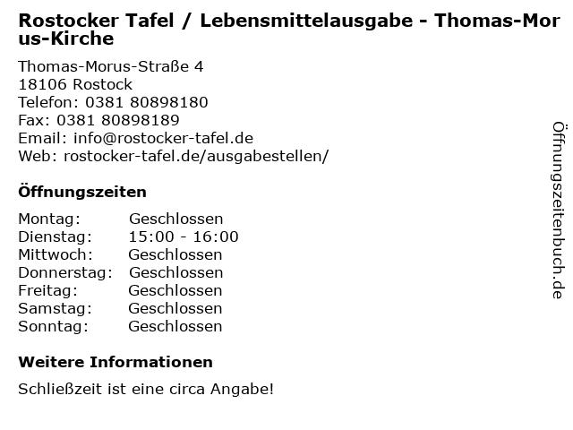 Rostocker Tafel / Lebensmittelausgabe - Thomas-Morus-Kirche in Rostock: Adresse und Öffnungszeiten