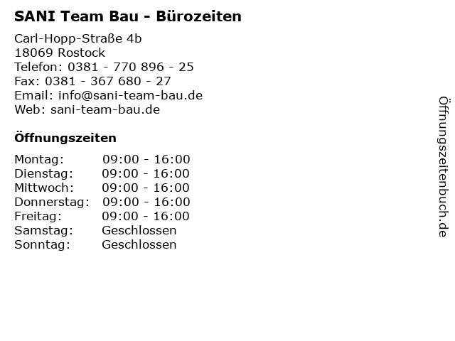 SANI Team Bau - Bürozeiten in Rostock: Adresse und Öffnungszeiten
